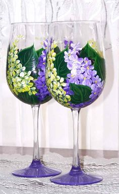 Wine Glasses With Hand Painted Lilacs