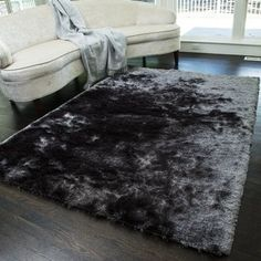 The Conestoga Trading Co. Steel Gray Area Rug The Conestoga Trading Co. Black Shag Rug, Black Rug, Grey Fur Rug, Room Rugs, Rugs In Living Room, Area Rugs, Room Ideas Bedroom, Bedroom Decor, Gray Bedroom