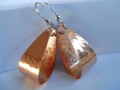Earrings of Copper Beaten copper Oval Hoops Hammered by JoJosgems, $16.00