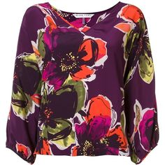 Trina Turk floral pattern V-neck blouse ($400) ❤ liked on Polyvore featuring tops, blouses, floral print tops, purple silk top, floral silk blouse, floral blouse and silk top