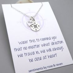 Best Friends Compass Necklace - message card - silver compass travel jewelry - friends close at heart - enjoy the journey - graduation gift by SentimentsByRR on Etsy https://www.etsy.com/listing/265337368/best-friends-compass-necklace-message