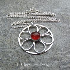 Carnelian Flower Circle - Sterling Silver Wire Floral Pendant - Handmade Gemstone Metalwork Wirework Jewelry - Blossom Petals Garden