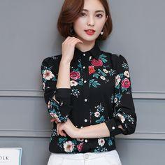 892519987c3 Fashion Floral Chiffon Blouse Shirt Women 2018 Spring New Women s Casual  Long Sleeve Print Shirt Plus