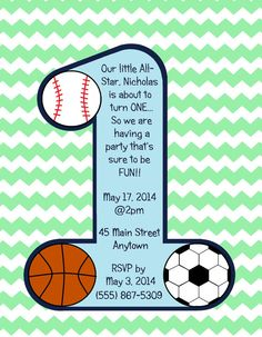 Set of 10 Custom Made Boy's Sports-Themed First Birthday Invitations