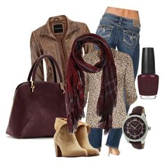 Autumn Nights by melissa-neville on Polyvore featuring maurices, Silver Jeans Co., UGG Australia, FOSSIL, Ted Scarf and OPI