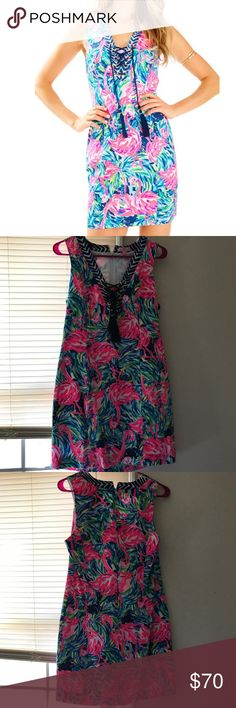 Lilly Pulitzer Cabrey Shift Flamenco Preloved Lilly Pulitzer Cabrey Shift in Flamenco in size 4. Washed and hung to dry / lives in a home with pets. Just not wearing it as much as other items. Lilly Pulitzer Dresses