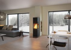 Neuheit Mit dem Kaminofen NEXO 160 lässt sich aus je sechs stilvollen Far. Novelty With the NEXO 160 stove, you can create your very own individual item from six stylish colors and six high-quality door handle variants. Wood Fireplace, Living Room With Fireplace, Architectural Design House Plans, Architecture Design, Corner Sofa, Wood Design, Design Design, Farmhouse Decor, Door Handles