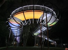 'Slinky Springs to Fame' crosses the channel 'Rhein-Herne Kanal' in Oberhausen, Germany