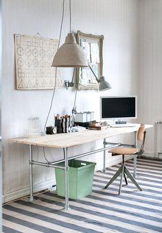 Parolan Asema - great DIY desk made of metal pipes and reclaimed wood