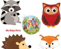 Woodland Critters Fox Raccoon Owl and Hedgehog Jumbo by BALLOONEYS