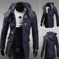 US Seller Men's Stylish Navy Blue Casual Coat Slimfit Hoodie Jacket Outwear Look Fashion, Korean Fashion, Mens Overcoat, Long Winter Coats, Long Trench Coat, Mens Fall, Mens Winter, Fall Winter, Sports Shirts