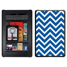 Blue and White Chevron design on a Black Thinshield Case for Amazon Kindle Fire by Coveroo. $39.95. This hard shell polycarbonate case offers a slim fit form factor, while covering the back and sides of your Kindle Fire
