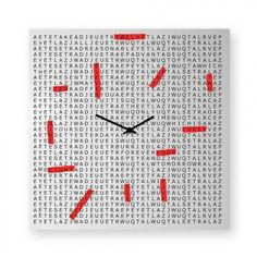 Crossword is a funny clock with a message to discover - if you read between the lines. This clock is made from laser-cut metal sheet that is then bent and powder-coat. Big Wall Clocks, Laser Cut Metal, Budget, Crossword, Decoration, Larry, Screen Printing, Plates, Modern
