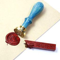 Custom Sealing wax stamp wax stamp sealing stamp - Style 2, JW, w/brown handle