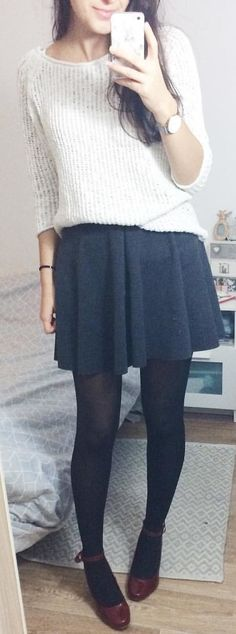 #winter #outfits black mini-skirt and black stockings