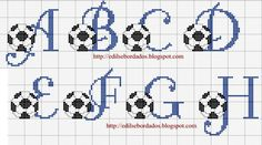 Alphabet with footballs Cross Stitch Letters, Cross Stitch For Kids, Cross Stitch Baby, Embroidery Alphabet, Embroidery Applique, Cross Stitch Embroidery, Crochet Letters, Cross Stitching, Stitch Patterns