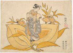 "Little Peachling: Calendar print for 1765 / Harunobu  Portland Art Museum  絵暦 桃太郎 鈴木春信 1765年  ※明和二年(乙酉):""弐 参 五 六 八 十 大"" yajifun貼交帳"