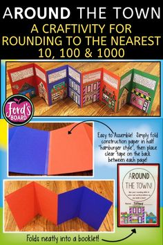 ARound the Town is a fun accordion rounding craftivity that will engage your students as they practice rounding to the nearest 10, 100, and 1,000. They will also gain practice solving real world problems involving rounding as they build a town!There are 15 buildings and problems to choose from, so towns may be as big or small as you'd like! Assembly is simple and the accordions fold up neatly into a booklet. Instructions and suggestions for use are included, as well as an answer key. Teaching Strategies, Teaching Math, Teaching Ideas, Rounding Activities, Math Place Value, Effective Teaching, Fourth Grade Math, Educational Crafts, Math Workshop
