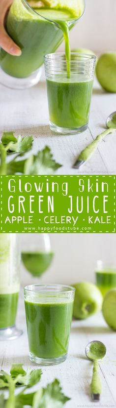 This Green Juice recipe is an easy way to give your skin the glow you are after. No preservatives, only 3 ingredients and 5 minutes to make!
