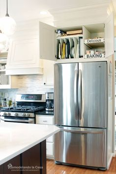 Kitchen Organization - How to install pull-out drawers and tray divider in cabinet above fridge (also nice vent cover) Kitchen Cabinet Organization, Kitchen Cabinet Design, Kitchen Redo, New Kitchen, Kitchen Storage, Fridge Storage, Cabinet Ideas, Cabinet Storage, Kitchen Ideas