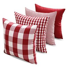 Dansfeng Classic Retro Checkers Plaid Cotton Canvas Square Throw Pillow Covers Christmas Decoration Cushion Case for Sofa Bedroom Car 12 x 20 Inch(Pure Red, Checkers Plaid, Stripe, Lattice)