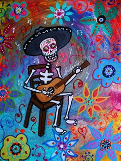 MEXICAN GUITAR PLAYER MARIACHI DIA DE LOS MUERTOS PAINTING Art Print