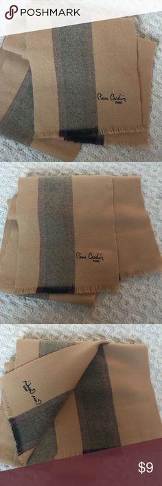 "Pierre Cardin Sandy Beige Plaid Scarf Great condition  Length 66"" Width 11"" Pierre Cardin Accessories Scarves & Wraps"