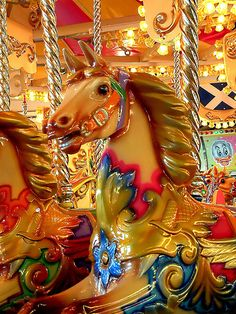 Carousel Horse: The Merry-Go-Round was my favorite ride as a child. I would always look for a black horse and my daddy would always lift me up and set me on top. Pretty Horses, Beautiful Horses, Carosel Horse, Tableaux Vivants, Carnival Rides, Painted Pony, Merry Go Round, Horse Art, Bunt