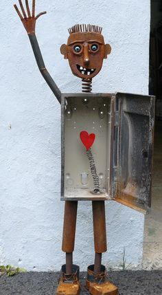 HI - voltage guy Found object upcycled steel garden art
