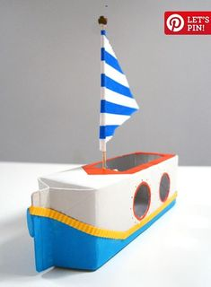 story of a 'putt putt boat' Make a sailboat from a milk carton with this kids craft made from recycled materials!Make a sailboat from a milk carton with this kids craft made from recycled materials! Kids Crafts, Boat Crafts, Summer Crafts, Projects For Kids, Diy For Kids, Crafts To Make, Craft Projects, Creative Crafts, Rainy Day Activities