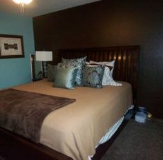 Good-looking Blue And Brown Bedroom : Blue Brown Paint Bedroom With Sleigh Bed… Blue Brown Bedrooms, Brown Bedroom Walls, Blue Bedroom, Brown Paint, Sleigh Beds, Curtains, Valance, House Design, Interior Design
