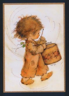 "Mary Hamilton Darling ""Little Drummer Boy"" Christmas Collectible Greeting Card 