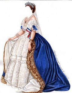 EMPRESS EUGENIE - Queen of France  ~ Ƹ̴Ӂ̴Ʒ ~  She was considered one of the great beauties of Europe and when she married Napoleon's nephew and became Queen of France, she was also the leader of fashion as well. Paper Doll and wardrobe are based on famous paintings of Eugenie. from ROYALTY Paper Dolls by Brenda Sneathen Mattox