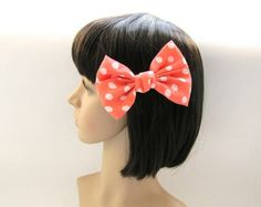 80s Light Coral Polka Dot Large Hair Bow Clip -4.5 inches/11.5cm -Ready to Ship Hair Accessories