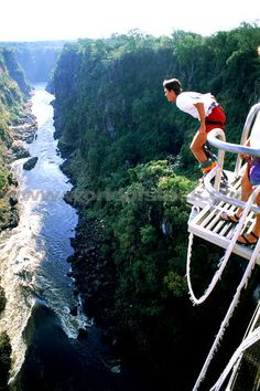 Bungee Jumping off Victoria Falls Bridge above the Zambezi River!  Been there, done it. 2003-03