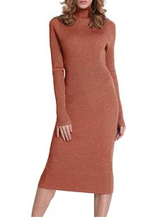 7fac65620b Rocorose Women s Turtleneck Ribbed Elbow Long Sleeve Knit Sweater Dress  Sweater And Shorts