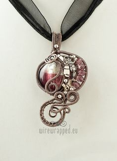 OOAK Purple and clear steampunk wire wrapped pendant by ukapala, €38.00