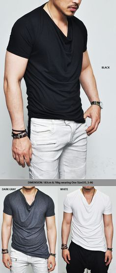 Tops :: Tees :: Edge Unbalance Shirring Silket Cowl Neck-Tee 194 - Mens Fashion Clothing For An Attractive Guy Look