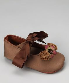 Take a look at this Brown Madeline Satin Shoe by Truffles Ruffles on #zulily today!