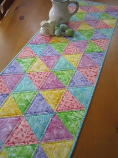 Spring Easter Table Runner – Patchwork Mountain Skip to easters Patchwork Table Runner, Table Runner And Placemats, Quilted Table Runners, Quilted Table Runner Patterns, Mini Quilts, Small Quilts, Anni Downs, Quilted Table Toppers, Quilting Projects