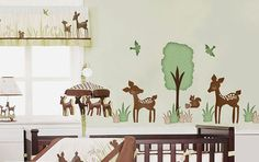 Willow Deer Forest Friends Fabric Wall Decal Sticker - not vinyl on Etsy, $54.50