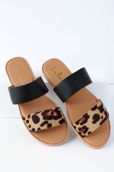e078a68507 Leopard Double Band Flat Slide Sandals in 2019 | Fashion & Beauty ...