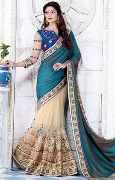 Beige and Teal Blue Designer Fashion Saree