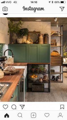 Emily Henderson Updated Kitchen Trends 2018 Cabinet On Counter Green Kitchen, New Kitchen, Kitchen Dining, Kitchen Decor, Küchen Design, House Design, Interior Design, Kitchen Furniture, Kitchen Interior