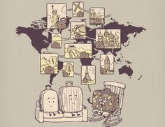 The Suitcase Stories Cool Drawings, Bart Simpson, Chen, Suitcase, Contemporary Art, Character Design, Kawaii, Artist, Poster