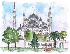 Blue Mosque watercolor sketch