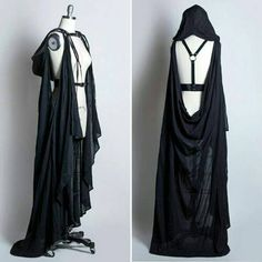 Awesome cloak thing from http://apatico.net/black-hooded-cape-harness-belt-pvc-leather-gothic-draped-gauze-witchy-nugoth-occult-wraith-fashion
