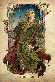 Legolas - The Star, the Lord of the Rings tarot cards by SceithAilm Legolas, Thranduil, Gandalf, Hobbit Art, O Hobbit, Arte Nerd, Tarot Major Arcana, Poses References, Jrr Tolkien