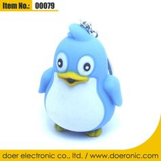 Penguin Sound LED Light Plastic Keychain Holder | Doer Electronic the Animals Novelty Gadgets Supplier from China, Welcome to the World of Animals Fun.
