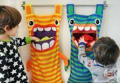 Hungry Monster Laundry Bags Ever wonder where those socks go? Well the hungry monster laundry bag eats them! Try this fun DIY craft, make a kid a laundry bag so they always keep tidy and clean. (Diy Gifts For Kids) 40 Diy Gifts, Diy Gifts For Kids, Diy For Kids, Crafts For Kids, Sewing Projects For Beginners, Diy Projects, Gift Bag Storage, Kids Room Accessories, Hair Accessories Storage